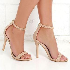 Tan strappy heels!